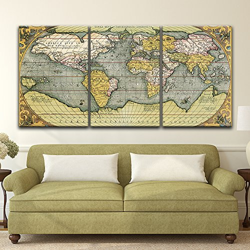 3 Panel Vintage World Map x 3 Panels