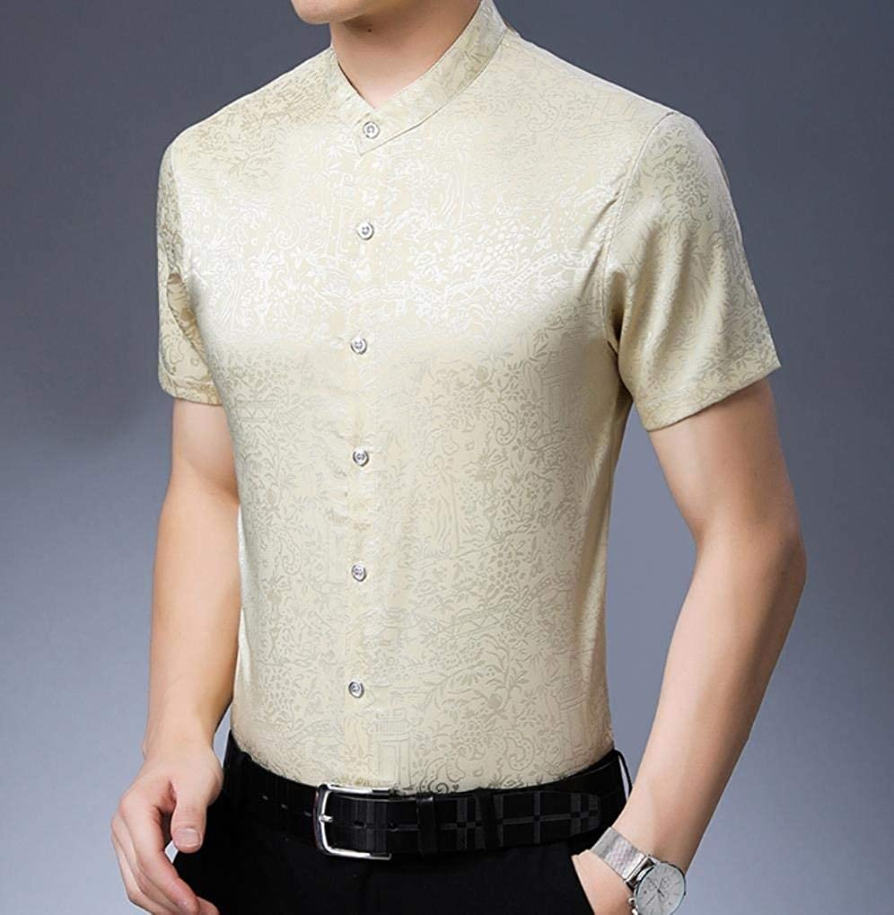Sebaby Mens Easy Care Baggy Buttoned Chinese Shirt Blouse Tops
