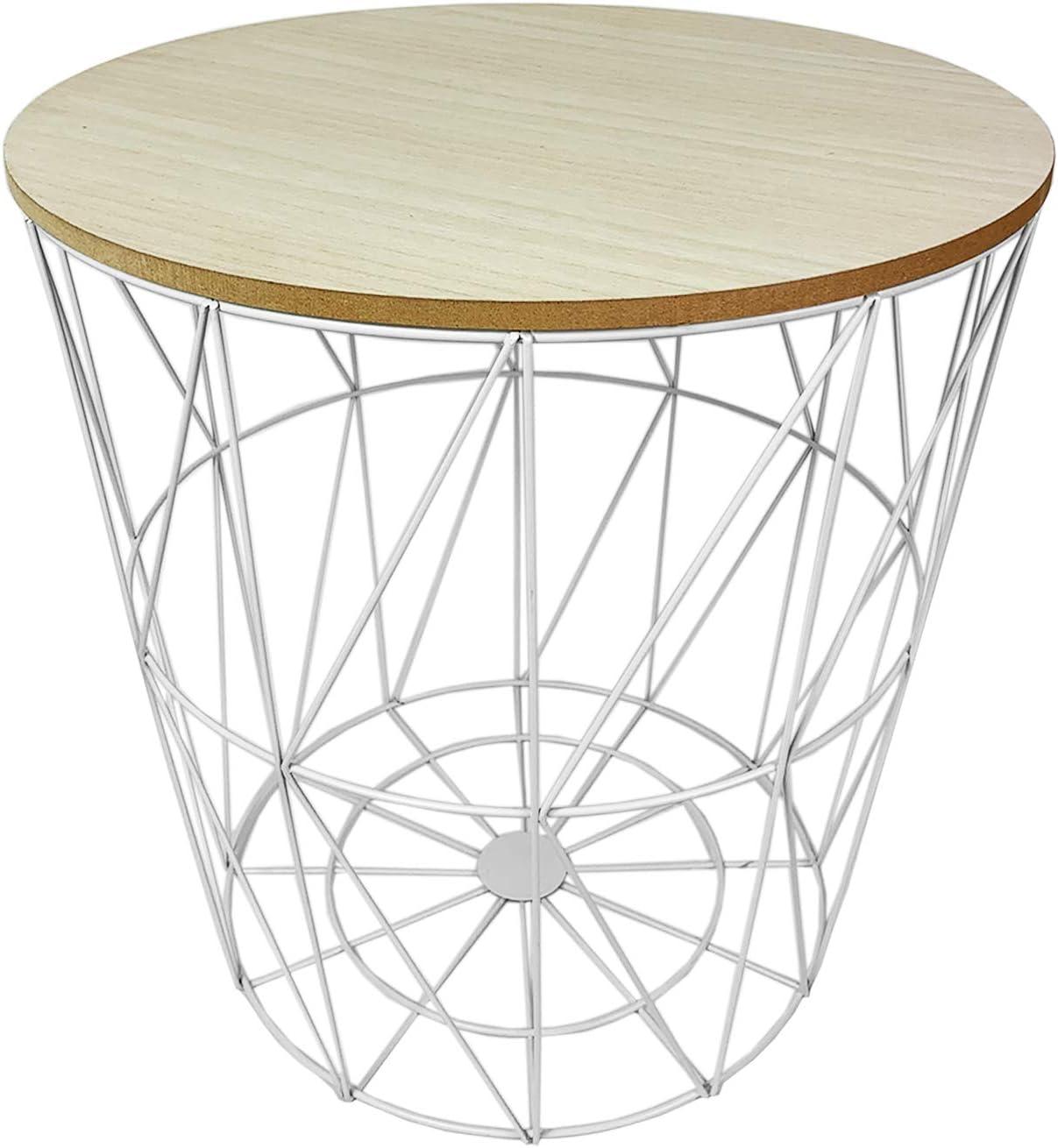 Beistelltisch Couchtisch Tisch  Sofatisch Ablagetisch Holztisch Metallkorb H160