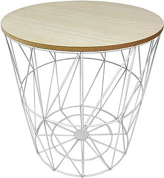Table d\'appoint avec Couvercle Amovible en Bois - Blanc ...