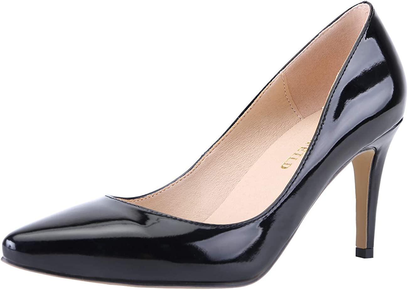 Mofri Womens Classy Pointed Toe Low Cut Stiletto High Heels Slip On Wear to Work Pumps Shoes with Bowknot