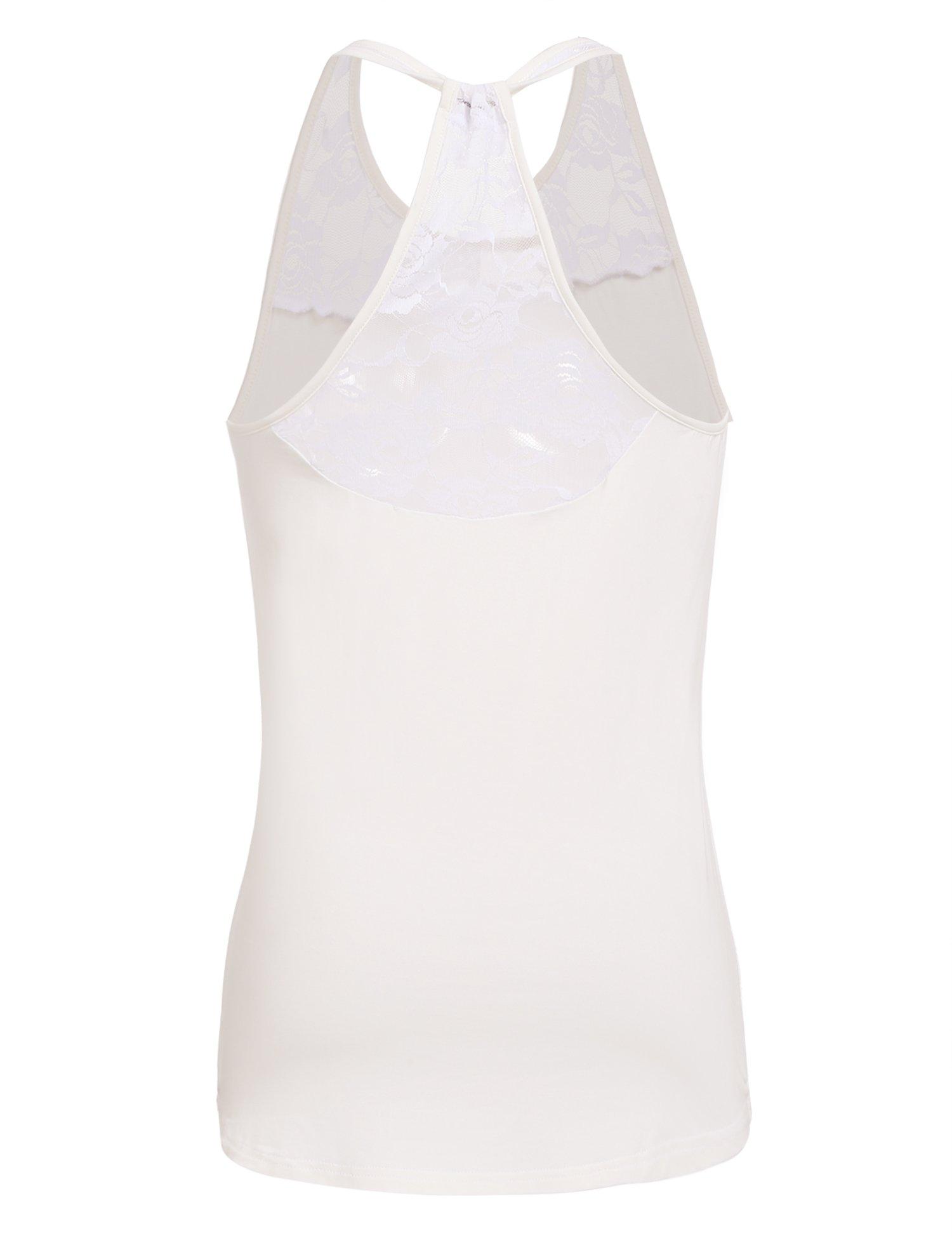 Mofavor Women's Sleeveless Crochet Lace Camisole Vest Halter Racerback Tank Top,White,Large by Mofavor (Image #4)