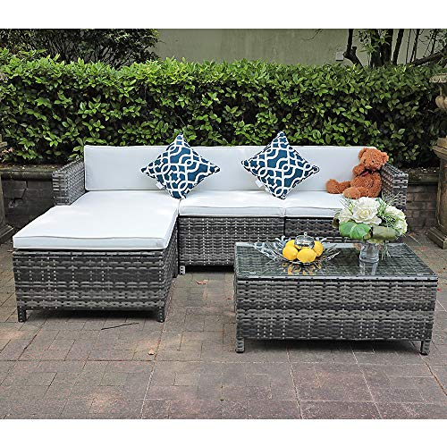 Patiorama 5 Piece Outdoor Furniture, Grey Wicker Patio Sectional Furniture with White Cushion, Plus 2 Pillows (White)