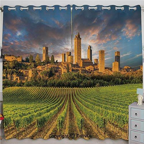 Justin Harve window Vineyards of San Gimignano Tuscany Historic Architecture Dramatic Sky Clouds Decorative Bedroom Living Room Curtain Set of 2 Panels(100