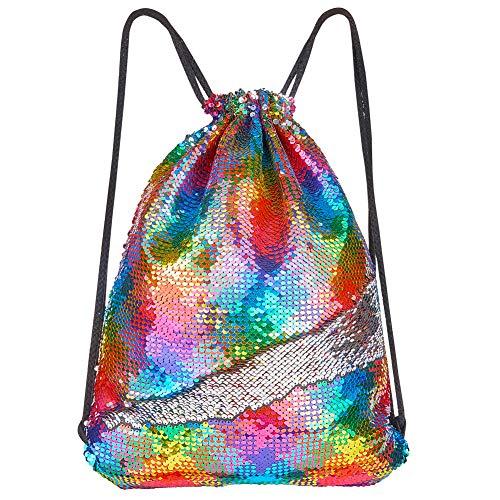 (Play Tailor Mermaid Sequin Bag, Reversible Sequins Drawstring Backpack Glittering Outdoor Sports Bag Dance Bag)