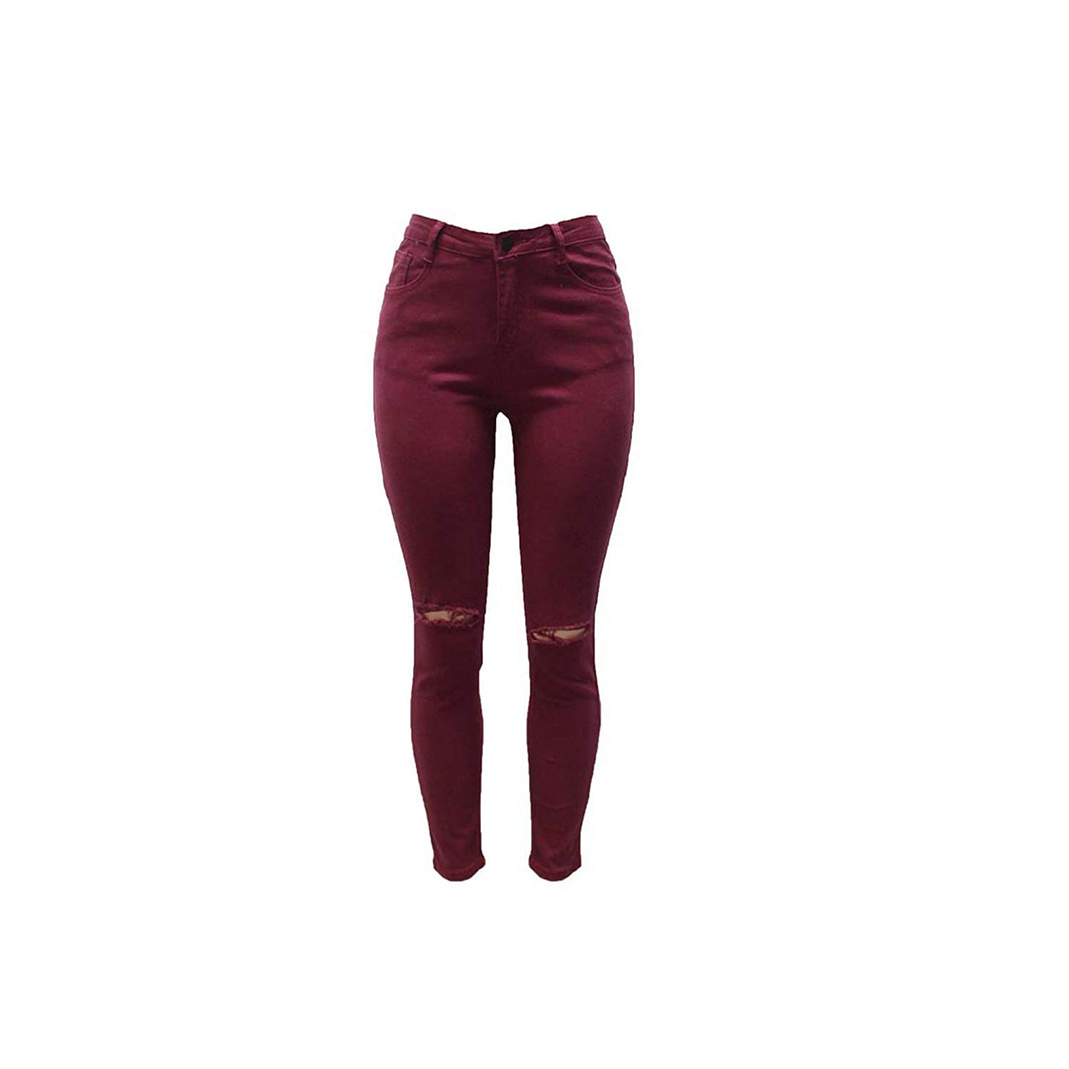Wine red jeans woman Femme High Waisted Skinny Jeans Woman Sexy Hip Lift Women Cotton Broken Hole Jeans