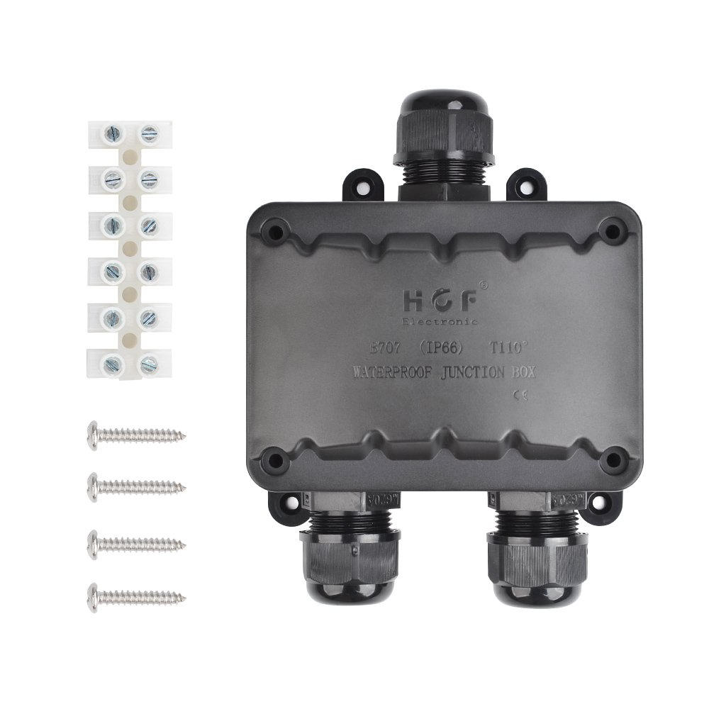 ATPWONZ Larger Junction Box 3 Way Cable Connector IP66 Waterproof Lighting Connector Electrical External Coupler M20 Cable Gland 10-14mm