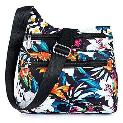 STUOYE Nylon Multi-Pocket Crossbody Purse Bags for Women Travel Shoulder Bag (1901 Lily)