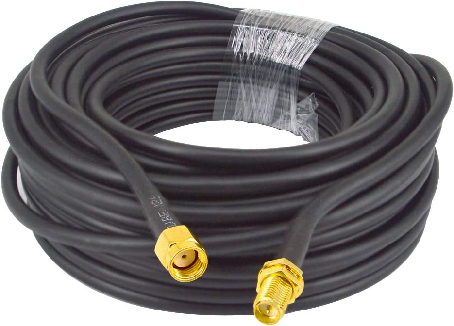 49.2 Ft Low-Loss Coaxial Extension Cable RG58 Reverse Polarity SMA Female to RP SMA Male Extension Coaxial Cable Connector and Two-Way Radio Applications 50 ohm Cable 15-Meter