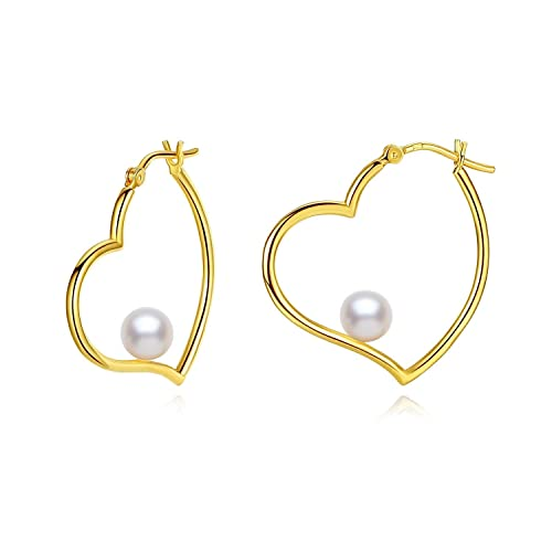 21de452e4 Amazon.com  18K Gold Plated 30mm Pearl Heart Hoop Earrings for Women Girls   Jewelry