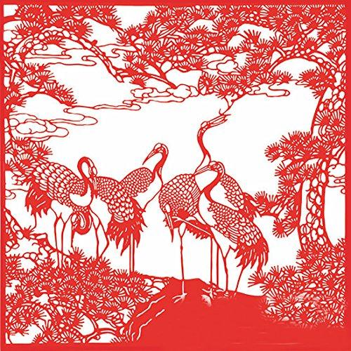 SellerWay ArtPaper Chinese New Year Gifts Handmade Paper-Cut Festival Ornaments,Jian Zhi, Red - Longevity Crane/28cm 28cm