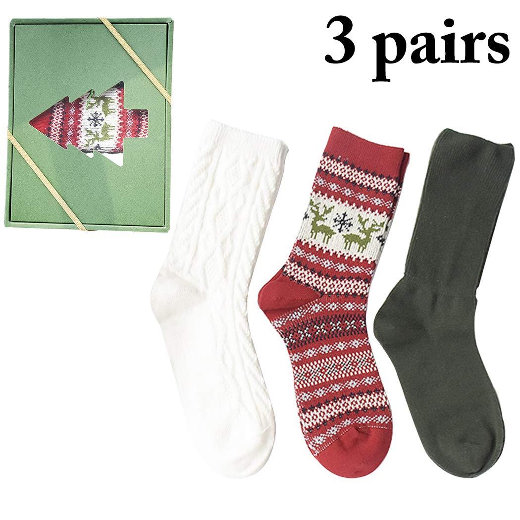 Zoylink 3 Pairs Christmas Socks Xmas Socks Solid Cotton Crew Socks for Unisex
