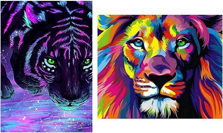 Lion point de croix 5D Diamant broderie Kit peinture décoration murale Orner