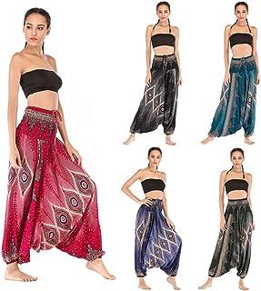 AllaSim Women's Loose Fit Aladdin Pants Hippie Boho Yoga Harem Pants 2 Wearing Styles