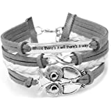 Infinity Christmas Owl Friendship Leather Charm Bracelet Gift including gift box Boolavard® TM