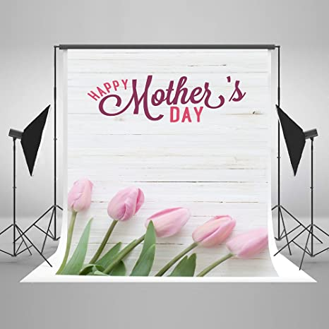 5X7ft 150cmX220cm Happy Mothers Day Photography Backdrop White Wood Wall Photo Background Flowers