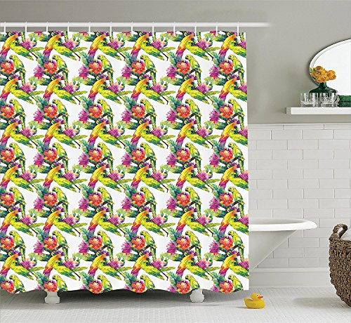 [Parrots Decor Collection Parrots and Flowers Botany Garden Tropics Flying Birds Vibrant Colors Artwork Print Polyester Fabric Bathroom Shower Curtain Set with Hooks Yellow] (Parrot Costume Ebay)