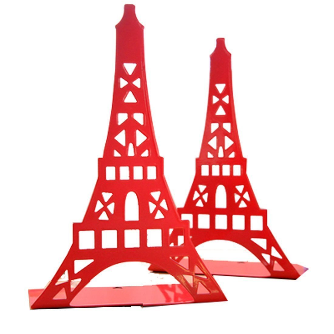 1 coppia cute Eiffel Tower Bookend fermalibri, motivo per ripiani Desk Holder Book organizer metal decorative Book End White Winterworm
