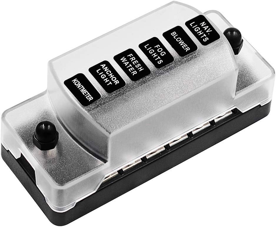 HBRT 6 Camino Caja de fusibles, Positiva y Negativa Independiente Electrodos Caja de fusibles y sin fusibles 1 en 6 Fuera con Pegatinas para el Barco del Coche de Van: Amazon.es: Hogar