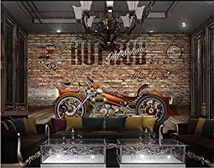 BZDHWWH Mural Personalizado Foto 3D Moto Racing De Papel Tapiz De Fondo De Pared De Ladrillo Rojo De Pintar Murales En 3D Papel Tapiz Para Paredes 3 D,200Cm (H) X 300Cm (W)
