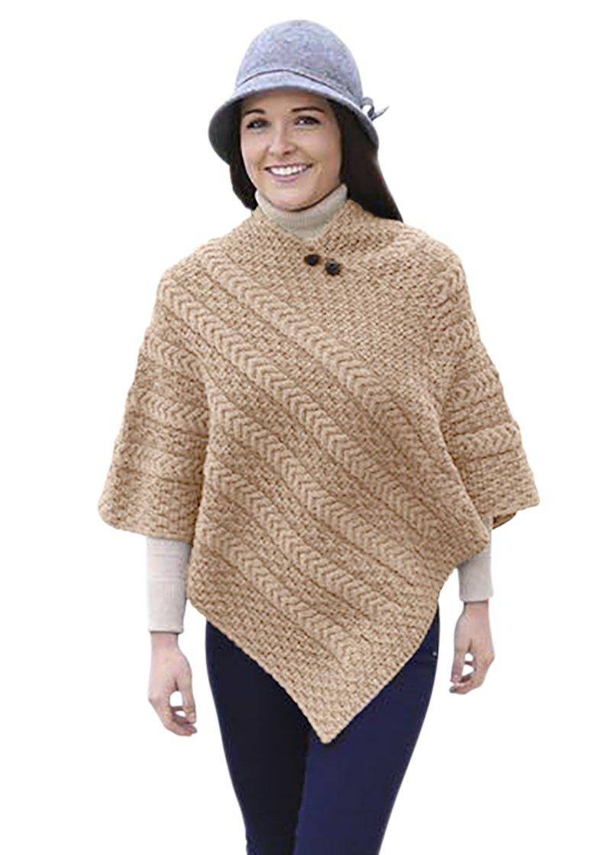 Ladies Merino Wool Plaited Poncho Sweater Carraig Donn