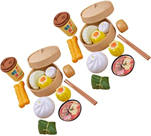 Toyvian Kitchen Pretend Play Food Dim Sum Steamer Buns Food Category Toys Kitchen Toys Accessories for Toddlers Boys Girls Easter Birthday Gift Toys 26pcs