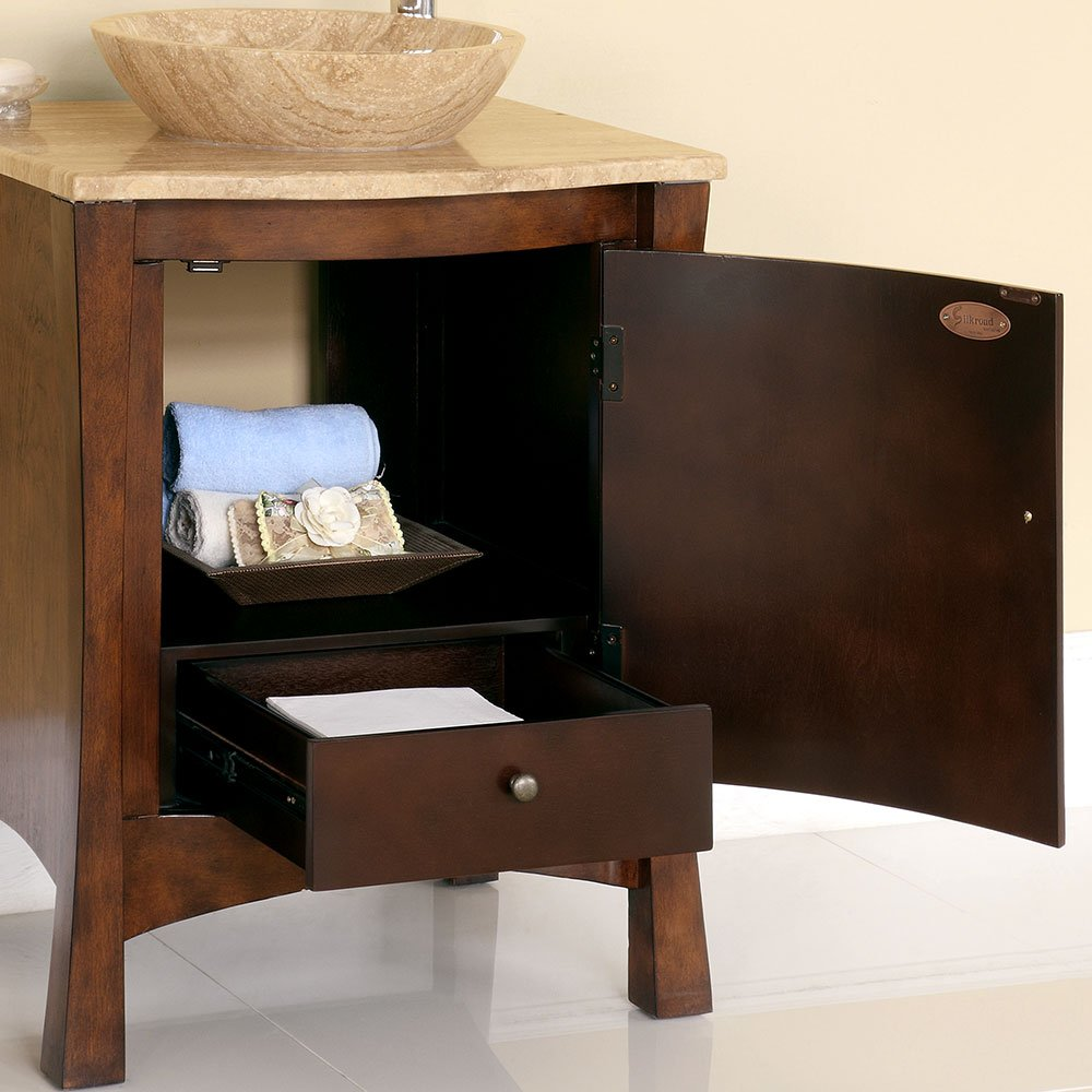 26 inch bathroom vanity cabinet - Amazon Com Silkroad Exclusive Travertine Top Modern Sink Vessel Bathroom Vanity With Cabinet 26 Inch Home Kitchen