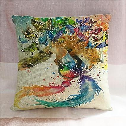 Pintado a mano mariposas Fox Atrapasueños funda de almohada ...