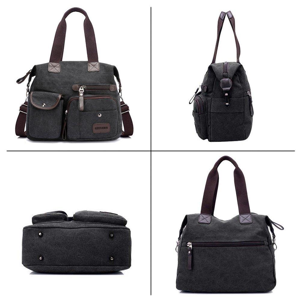 Women's Canvas Tote Bag Top Handle Bags Shoulder Handbag Tote Shopper Handbag crossbody bags (Black) by Greatbuy-US (Image #5)