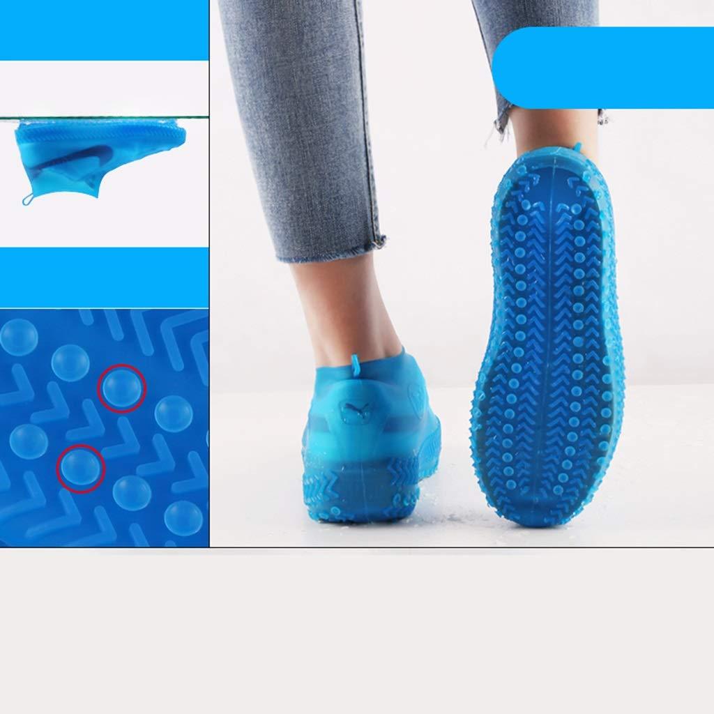 YANGBM Silicone Rain Boots Set Wear-Resistant Waterproof Shoe Cover Suction Cup Non-Slip Thickening Outdoor Travel Rain Boots Cover Silicone rain Boots (Color : Blue, Size : M)