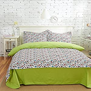 Leopard print green bedding duvet cover set kids bedding teen bedding dorm bedding - Teen cheetah bedding ...