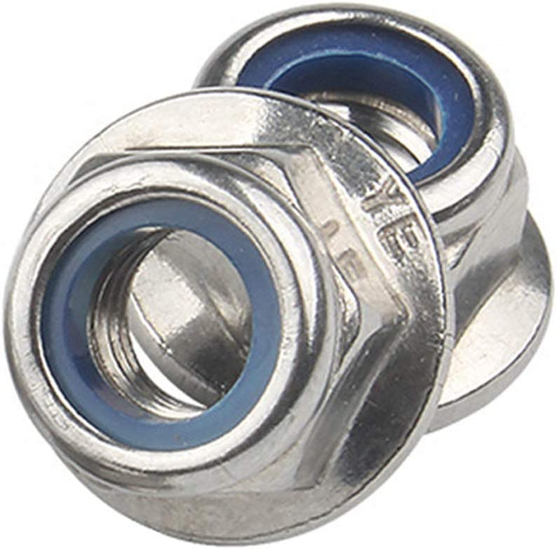 Stainless Steel 18-8 M8 Metric Hex Flange Nylon Insert Lock Nuts 10 PCS 304