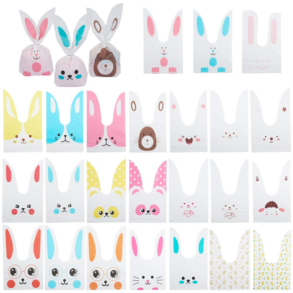 PandaHall Elite 100 Pcs Rabbit Ear Bag 25 Styles Candy Dessert Biscuits Cookies Bakery Cakes Plastic Gift Bags With Cute Bunny Ear Treat Bag 23.3x13.8cm for Wedding Birthday Party Supplies