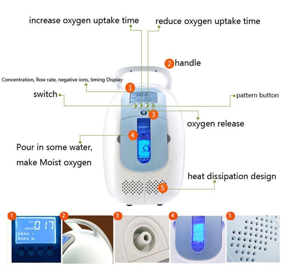 Vogvigo Portable Concentrador y generador de oxígeno ,90% Oxígeno de alta pureza Máquina Purificador de aire,1L-5L/min para Hogar Hospital Coche o viaje: ...