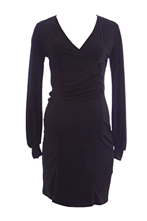 a4c95c90951c7 Olian Maternity Women's Black Beaded Button Accent Faux Wrap Dress at  Amazon Women's Clothing store: