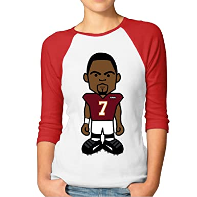 c8bf9321862 Amazon.com  Michael Vick Football Player Women s Heart 100% Cotton 3 4  Sleeve Athletic Baseball Raglan Sleeves T-Shirt Red US Size L  Clothing