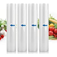 White dolphin Vacuum Sealer Rolls Storage Sous Vide Bags 4 Rolls Large 9.8 Inch x19.6 Ft for Food Preservation with Double-Side Channel,BPA Free, Commercial Grade, Reusable