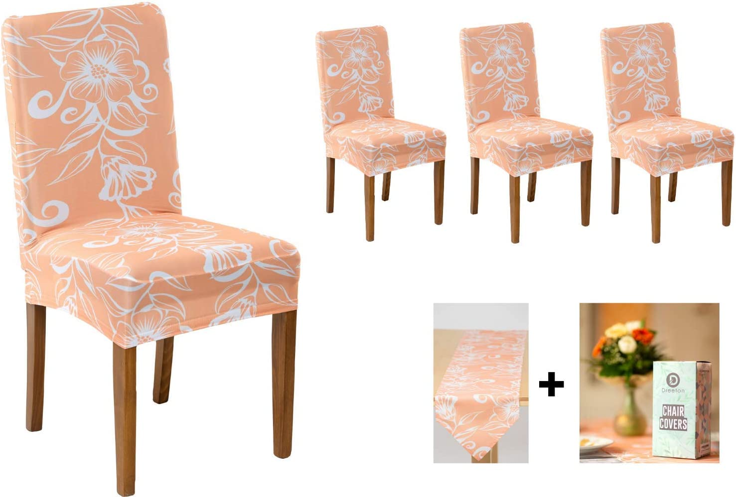 Dreeton Dining Room Chair Covers Set of 4 with Table Runner, Removable and Washable Chair Seat Slipcovers, Stretch Seat Protector Hotels, Home, Restaurants, Wedding Banquet, Office, Party: Kitchen & Dining