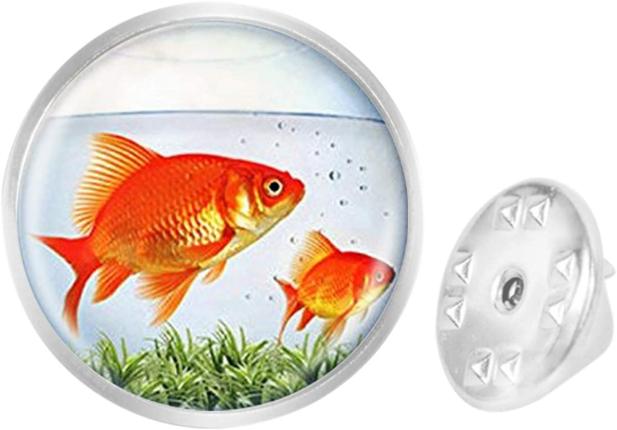WAZZIT Round Metal Tie Tack Hat Lapel Pin Brooches Goldfish Fish Tank Theme Banquet Badge Enamel Pins Trendy Accessory Jacket T-Shirt