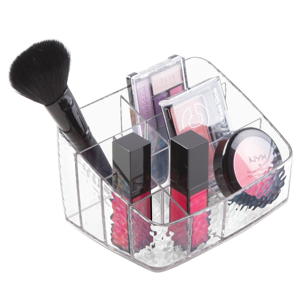 iDesign Rain Cosmetic Organizer for Vanity Cabinet to Hold Makeup, Beauty Products – 10 Compartments, Clear