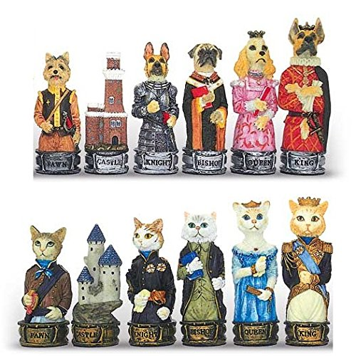 Shri Ganesh Renaissance Cats & Dogs Hand Painted Polystone Chess Pieces