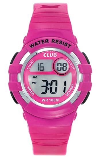 Club niña - Reloj de pulsera digital Niños Reloj 10 bar impermeable reloj digital con alarma/LED de luz/Fecha reloj de pulsera infantil - color rosa ...