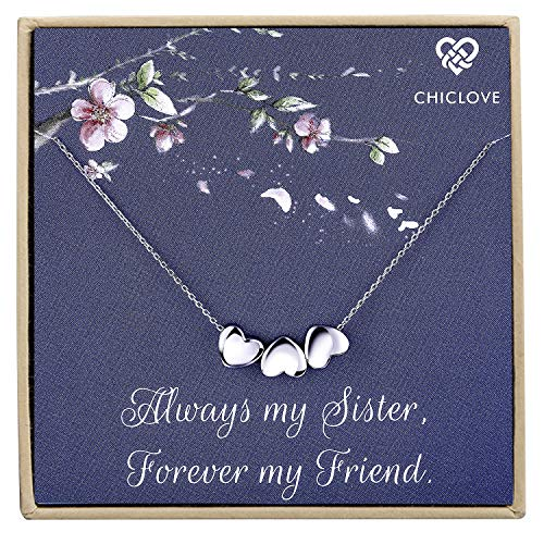 (CHICLOVE Tiny Heart Necklace, Three Sister Gift, Gift for Best Friend,Dainty Heart Necklace, Delicate Necklace, Bridesmaid Gift (Sister Necklace))