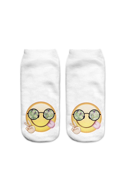 Womens Cute Funny Emoji Print No Show Ankle Fashion Socks EMOJISOCKS (Emoji Glasses 2 Pair)