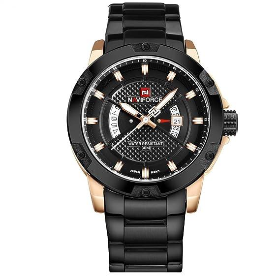 los deportes de los nuevos hombres populares doble miran los relojes de los hombres con estilo sólido caja de oro rosa esfera de color negro cómodo fresco ...