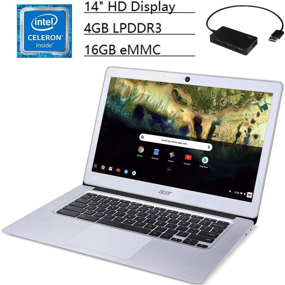 "Acer Chromebook 14 CB3, 14"" HD Display, Intel Celeron N3060 Dual-Core, 4GB LPDDR3, 16GB eMMC, Metal Chassis, Sparkly Silver, Google Chrome OS, Bundle with TSBEAU 4 Port USB 2.0 Hub"