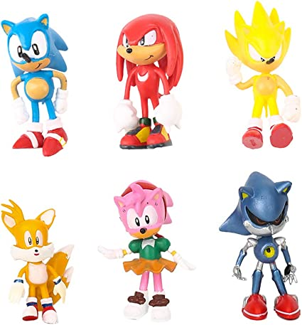 Amazon Com Sonic The Hedgehog Cake Toppers Figures Characters Set Of 6 Action Figure Cake Decoration Cupcake Topper Toys Games