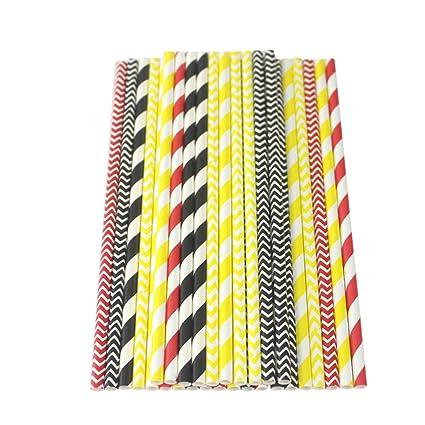 Amosfun 150 pajitas de papel biodegradables a rayas para ...