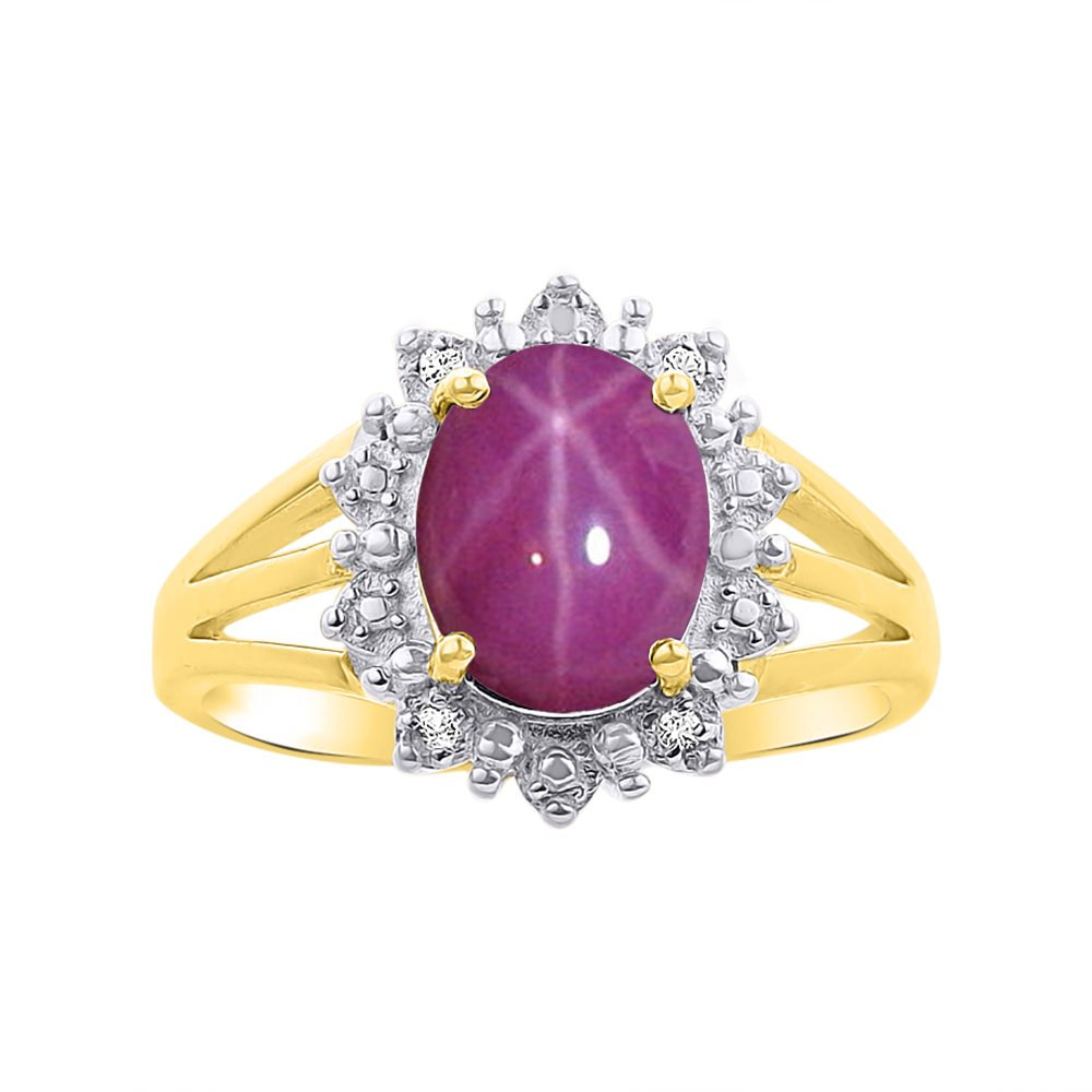 Princess Diana Inspired Halo Diamond & Star Ruby Ring Set In Yellow Gold Plated Silver .925