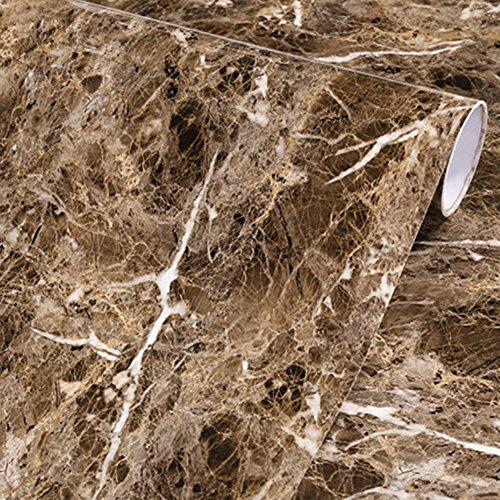 Amao Brown Granite Look Marble Effect Paper Film Vinyl Self Adhesive Peel-Stick Counter Top Wall Sticker- 12''x79''